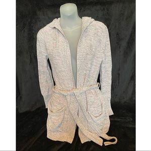 Roxy Hooded Belted Cardigan Pink-Grey Knit